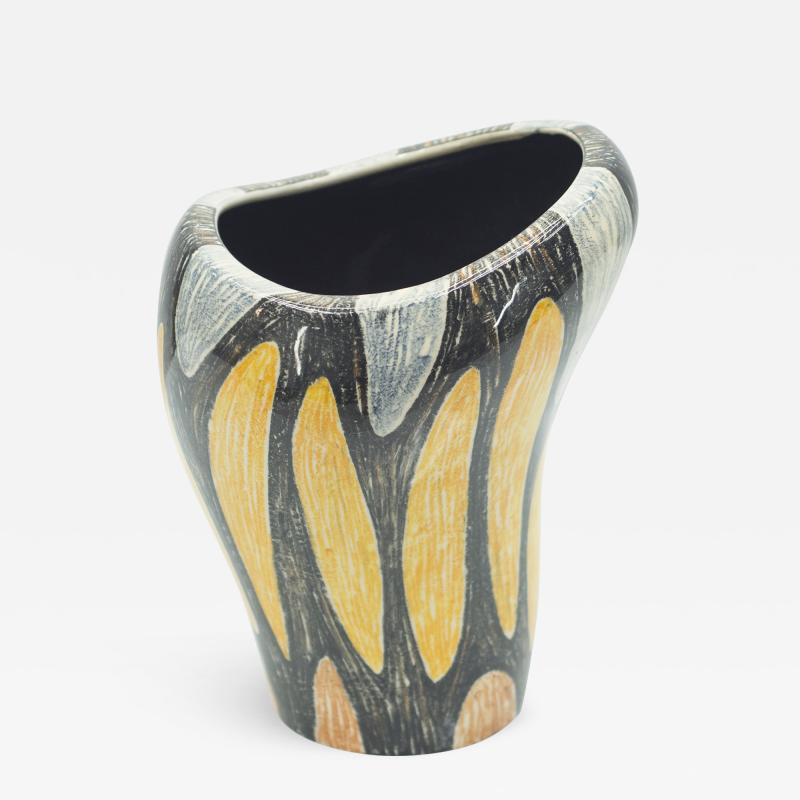 Small French art deco colorful ceramic vase 1940s