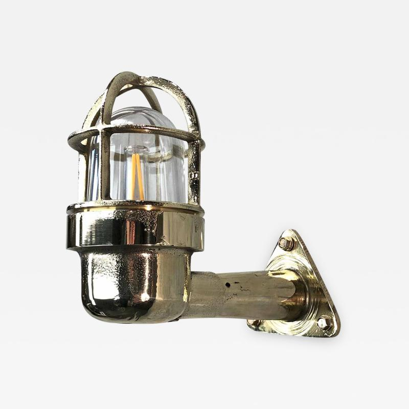 Small Industrial Brass Wall Light Glass Dome with Cage