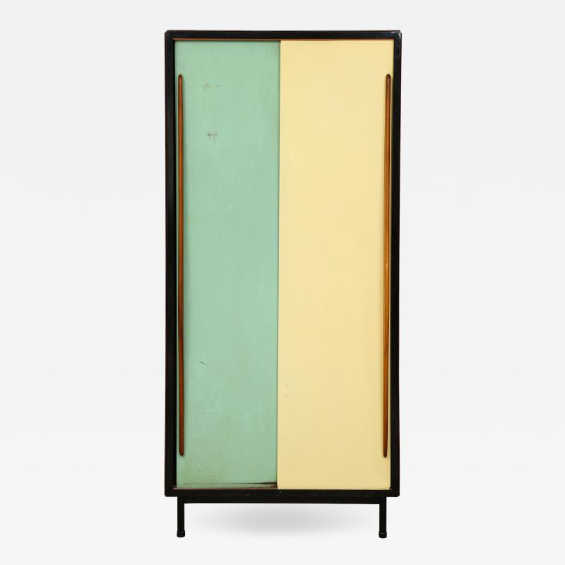 Small wardrobe with blue and cream enameled doors by Architect Van der Meeren