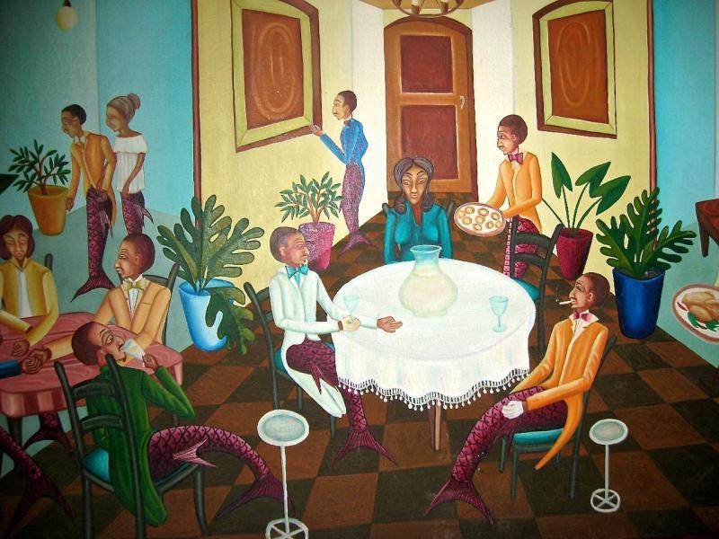 Smith Blanchard Surrealist Restaurant Scene with Mermaids