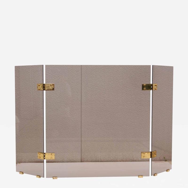 Smoked Glass And Brass Foliding Fireplace Screen
