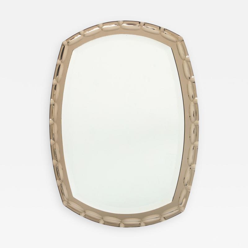 Smoked Glass Beveled Edge Mirror Italy c 1950s