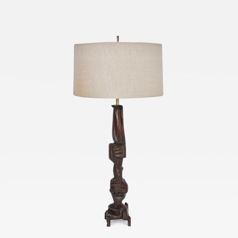 Smokey Tunis Tall Smokey Tunis Hand Carved Poplar Table Lamp 1969