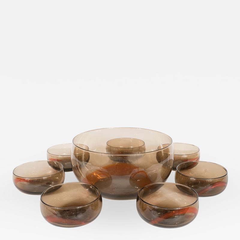 Smoky Murano Glass Petite Punch Bowl and Matching Glasses