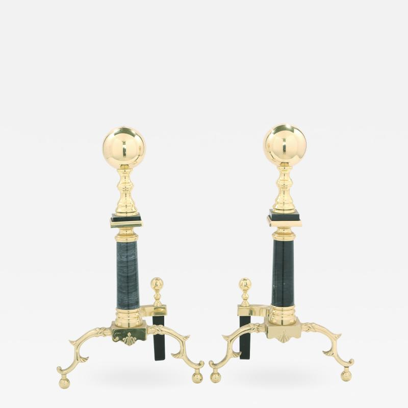 Solid Brass Marble Pair Regency Style Andirons