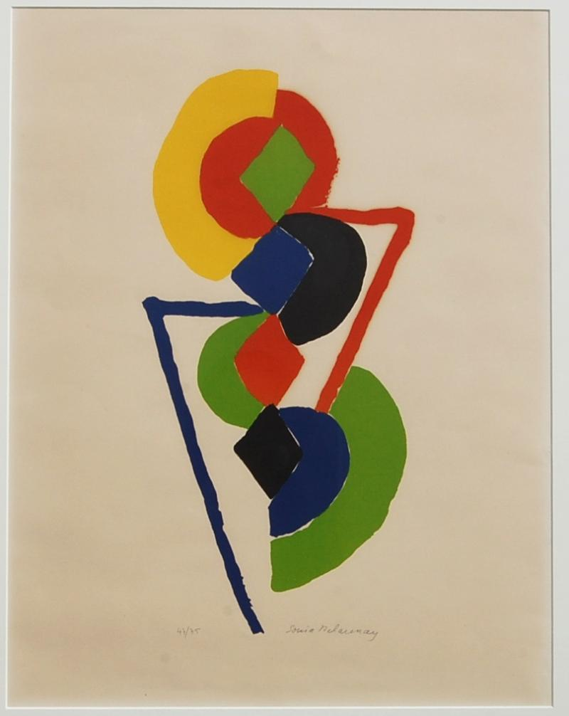 Sonia Delaunay Abstract Geometric Color Lithograph 47 75