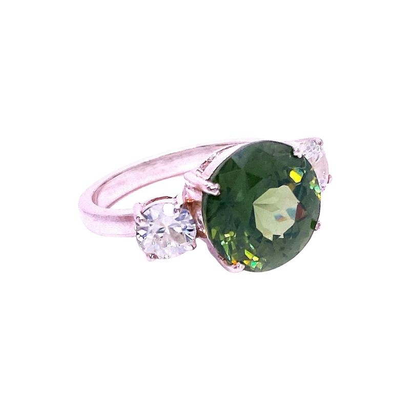 Sophisticated Big Deal Green and White Zircon Cocktail Ring from Gemjunky