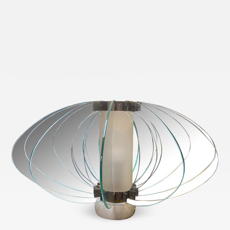 Space Age Italian Marble Base Art Glass Table Lamp circa 1960