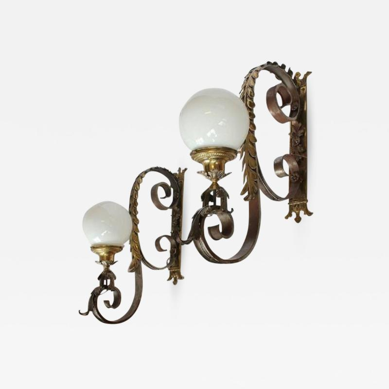 Spectacular 1920s American Bronze Wall Sconces