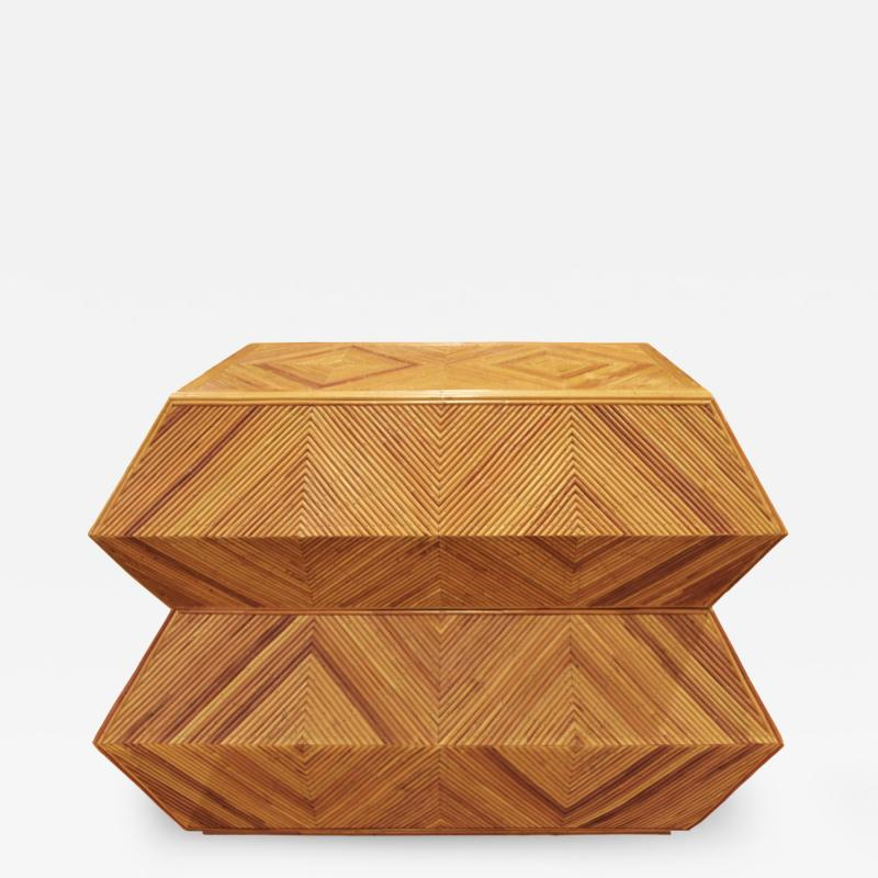 Spectacular Sculptural Chest of Drawers in Bamboo 1970s
