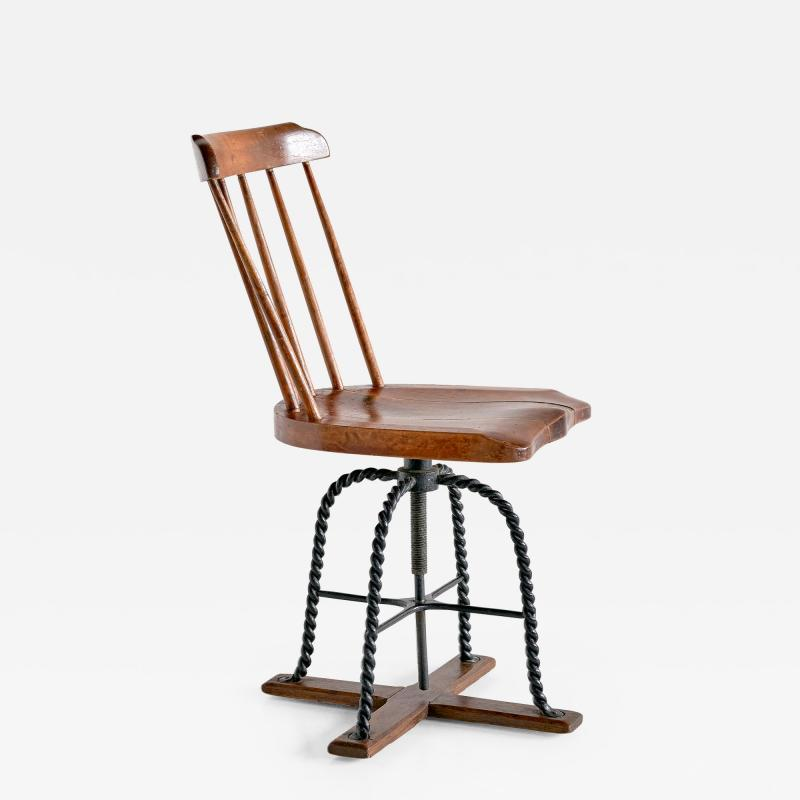 Spindle Back Swivel Desk Chair in Elm and Turned Wrought Iron Sweden 1920s