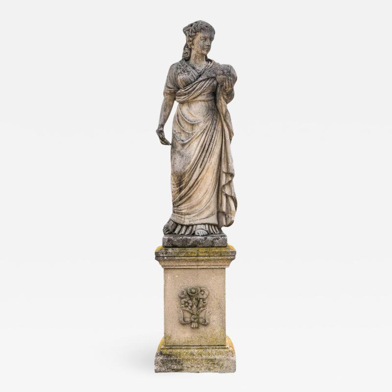 Splendid Italian Carved Large Stone Garden Sculpture Symbol of the Science