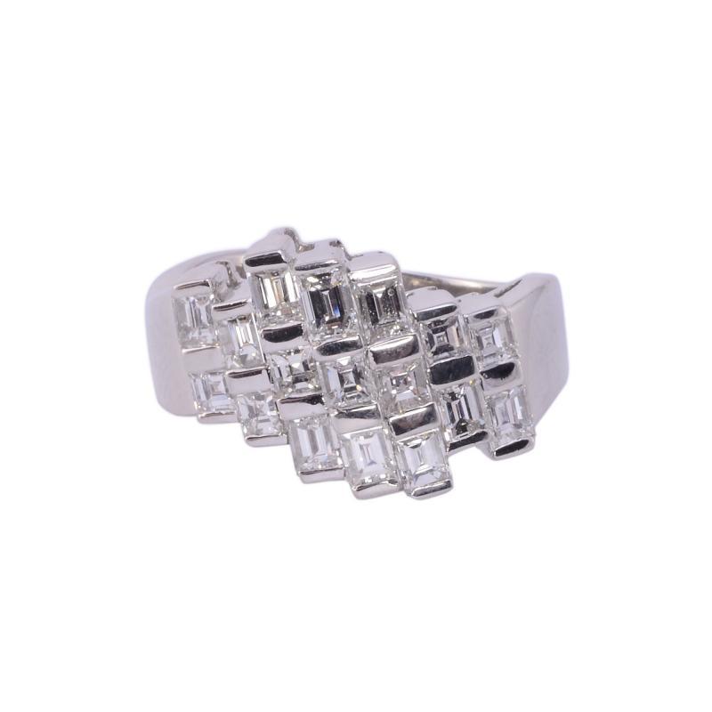 Square Baguette Diamond Platinum Ring