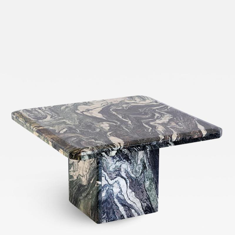 Square Side Table in Green Cipollino Marble Italy 1970s