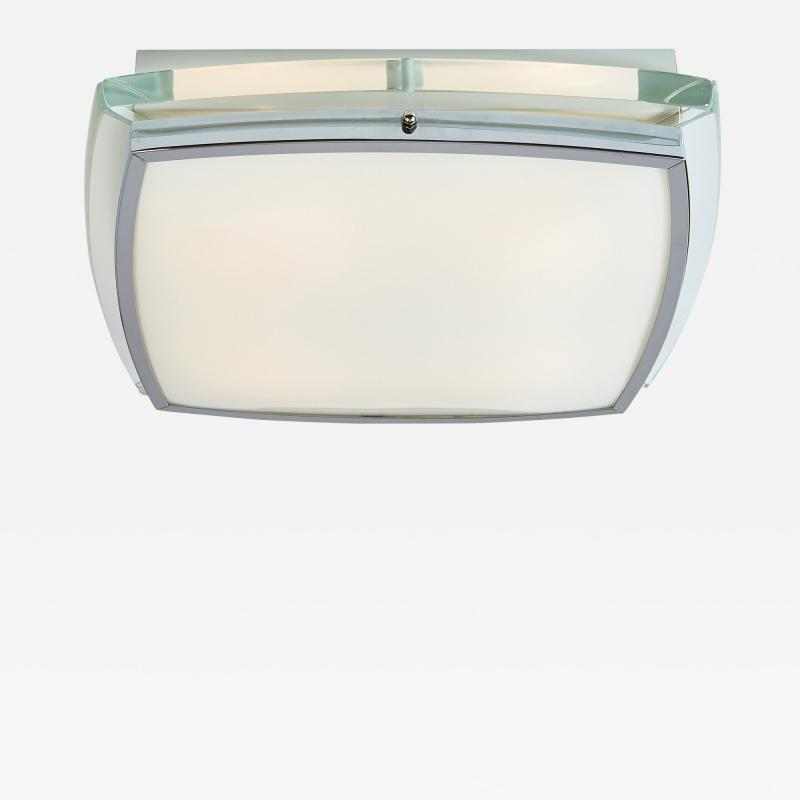Squared Nickeled Flush Mount with Thick Slab Clear Glass Frame 1970s