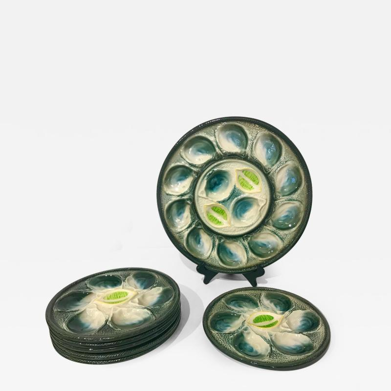 St Clement Factory St Clement French Art Deco Majolica Set of 6 Oyster Plates and Serving Platter