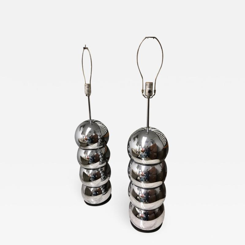 Stacked Chrome ball table lamp pair