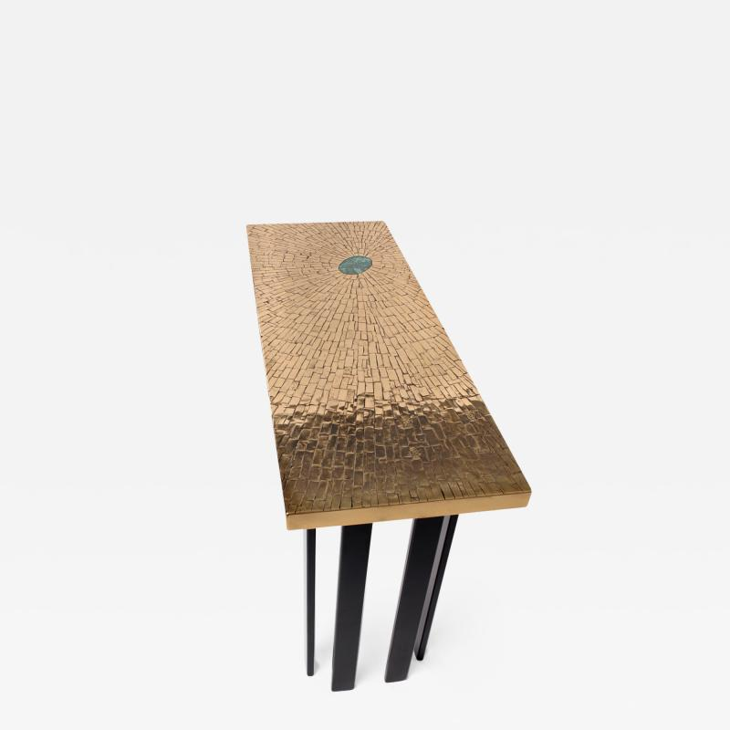 Stan Usel Console in mosaic brass and malachite by Stan Usel