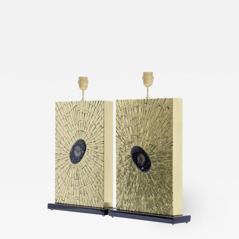 Stan Usel Pair of table lamps in mosaic brass by Stan Usel