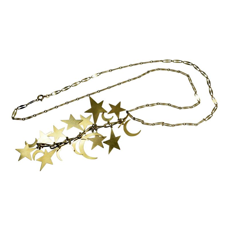 Stars and Moons Pendant Chain Necklace