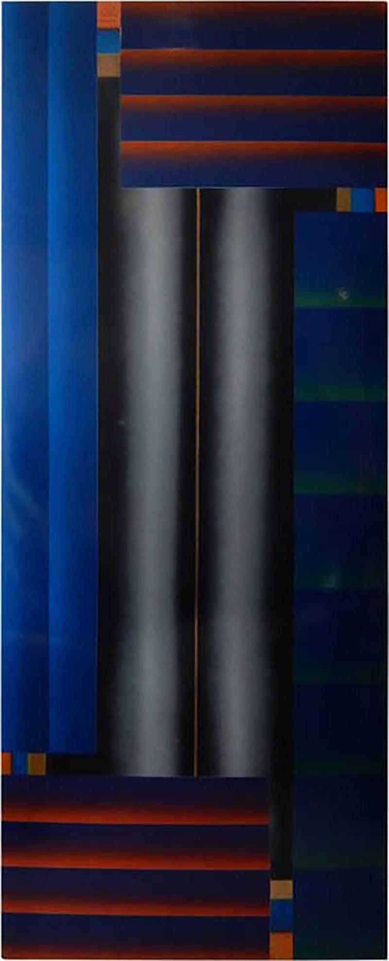 Stefan Knapp Monumental Modernist Enamel on Metal Painting by Stefan Knapp