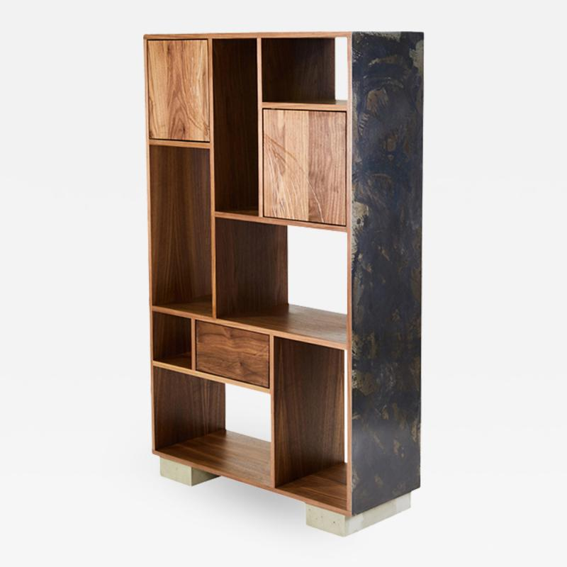Stefan Rurak Studio E 1 Patinated Steel tag re Shelving with Solid Walnut Faces Concrete Base