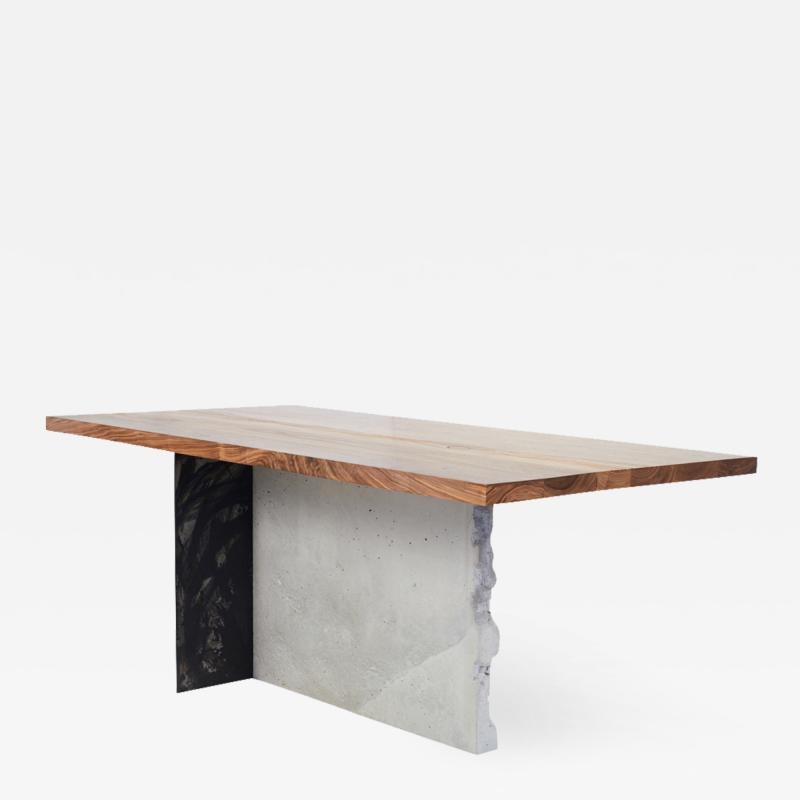 Stefan Rurak Studio T 1 Dining Table Walnut Wood Top Patinated Steel and Cracked Concrete Leg