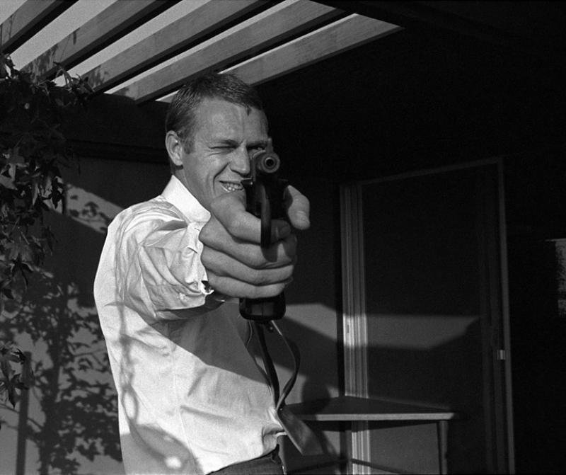 Steve McQueen at his Hollywood Hills Home on Solar Drive