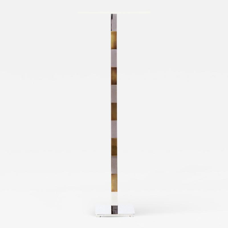 Stewart Ross James Chrome and Brass Floor Lamp by Hansen