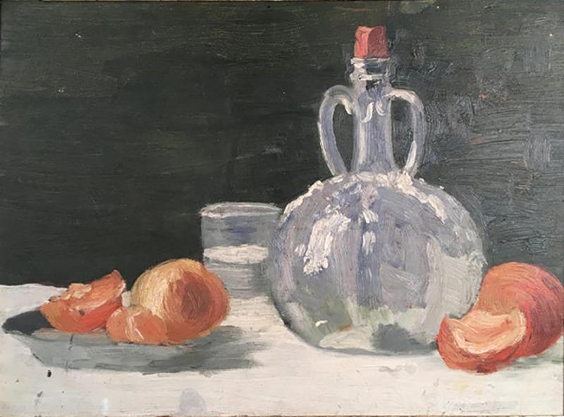 Still Life Oranges and Bottle Oil on Board