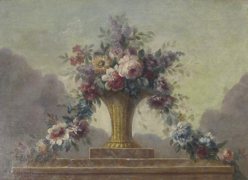 Still Life of Flowers in Basket on Ledge