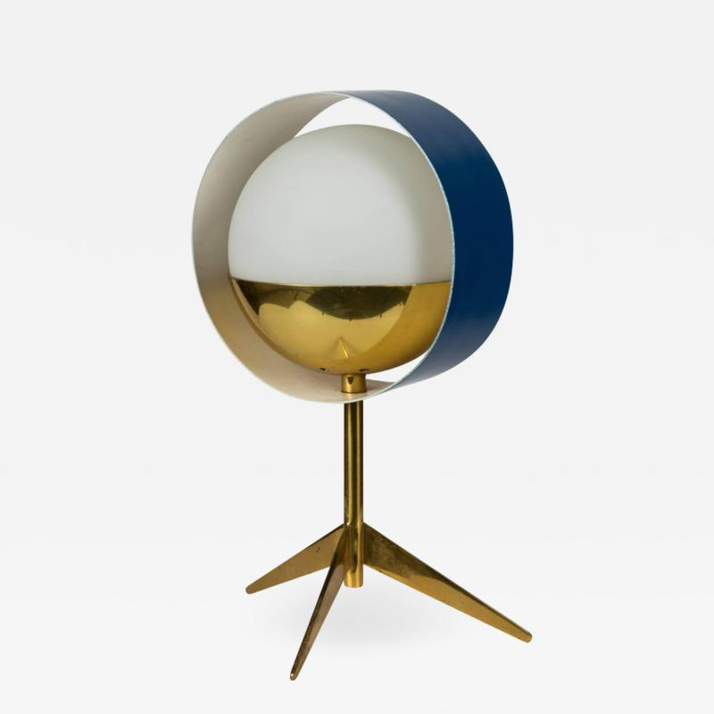 Stilux Milano 1950s Stilux Milano Brass and Glass Tripod Saturno Table Lamp
