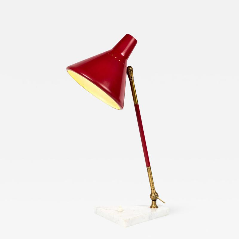 Stilux Milano 1950s Stilux Milano Red and White Mable Table Lamp