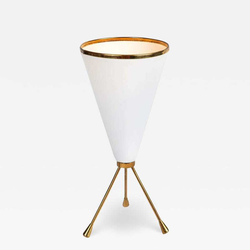 Stilux Milano 1950s Stilux Milano White Cone Tripod Table Lamp