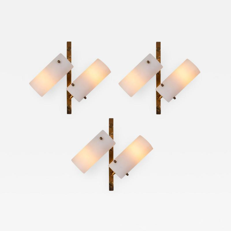 Stilux Milano Set of Three Stilux Double Glass and Brass Wall Lights circa 1950s