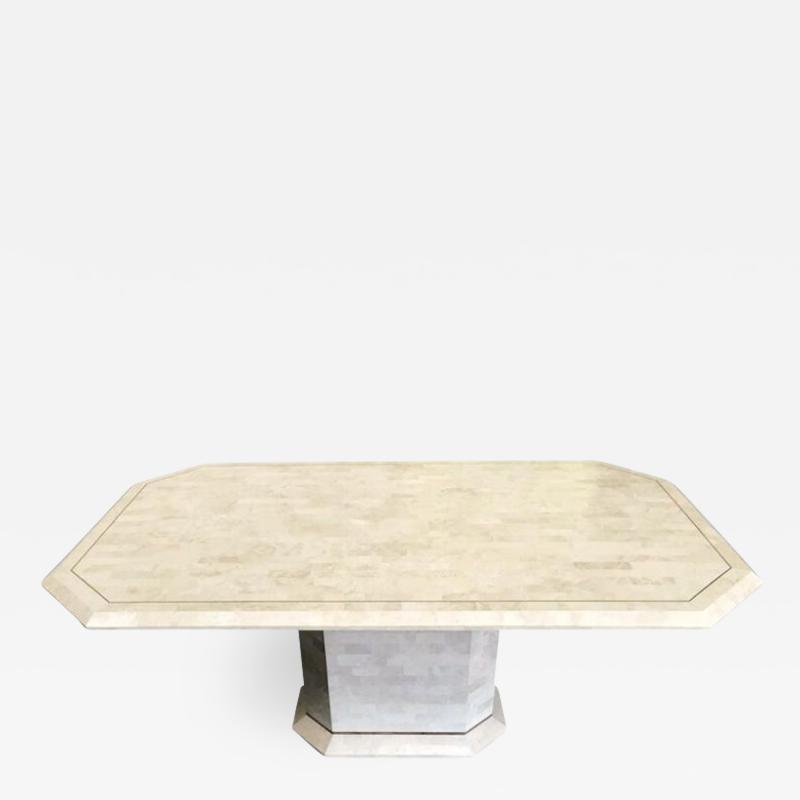 Stone Veneer Inlaid Dining Table