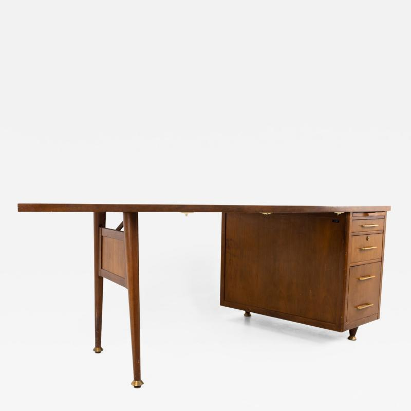 Stow Davis Mid Century Walnut and Brass Boomerang Desk