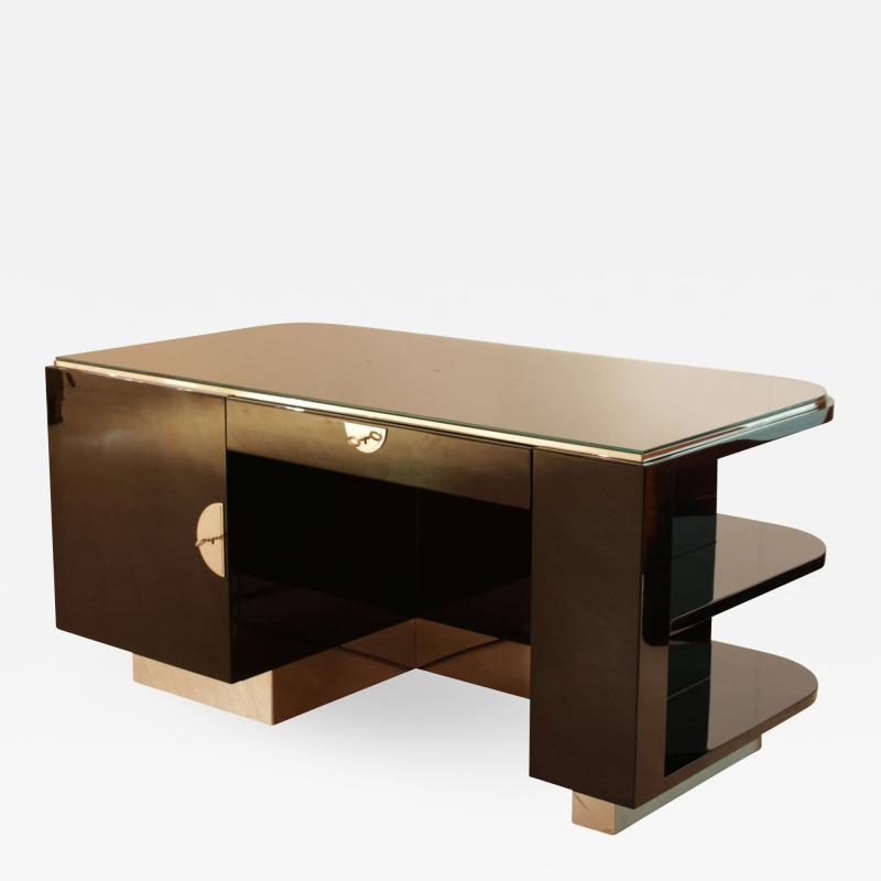 Strict Bauhaus Desk Black Lacquer and Chrome Germany circa 1930