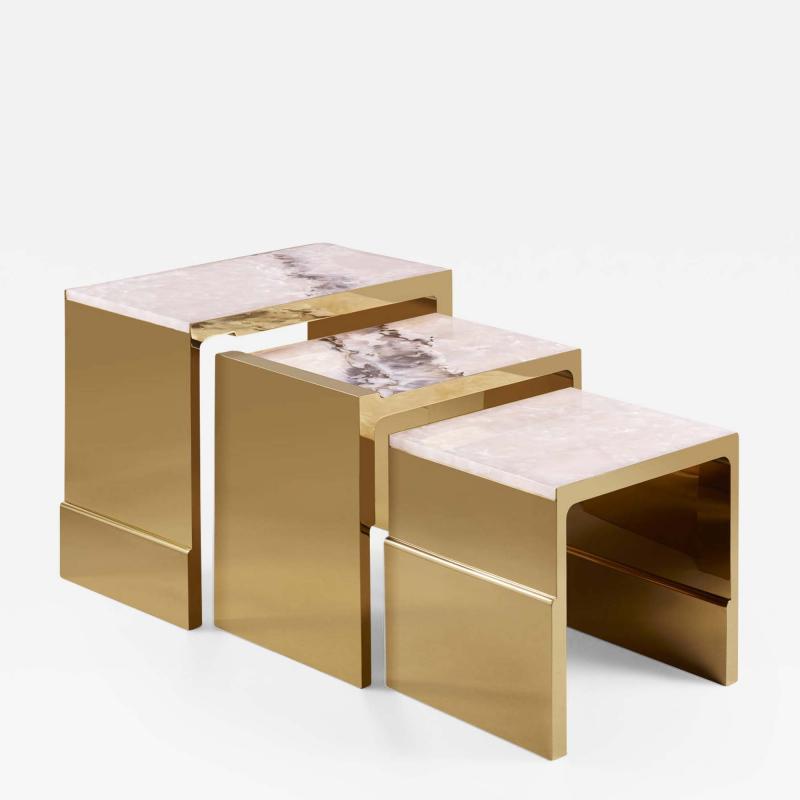 Studio MVW JinShi Pink Jade Nest Of Tables
