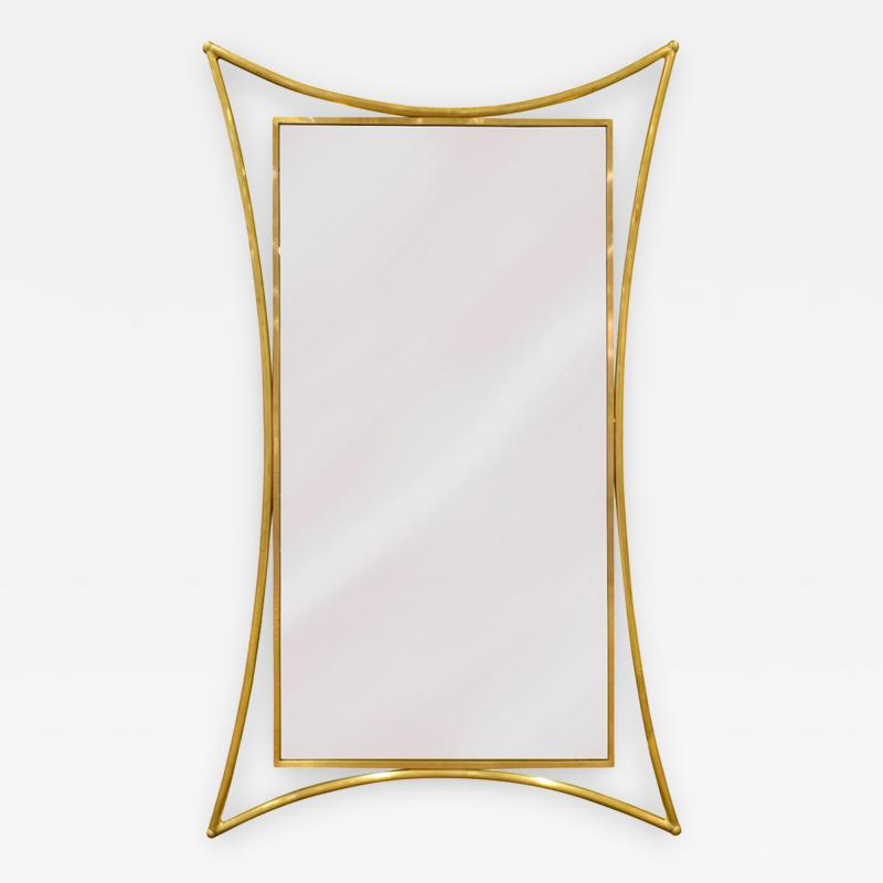 Studio Made Wall Hanging Mirror in Brass 1970s