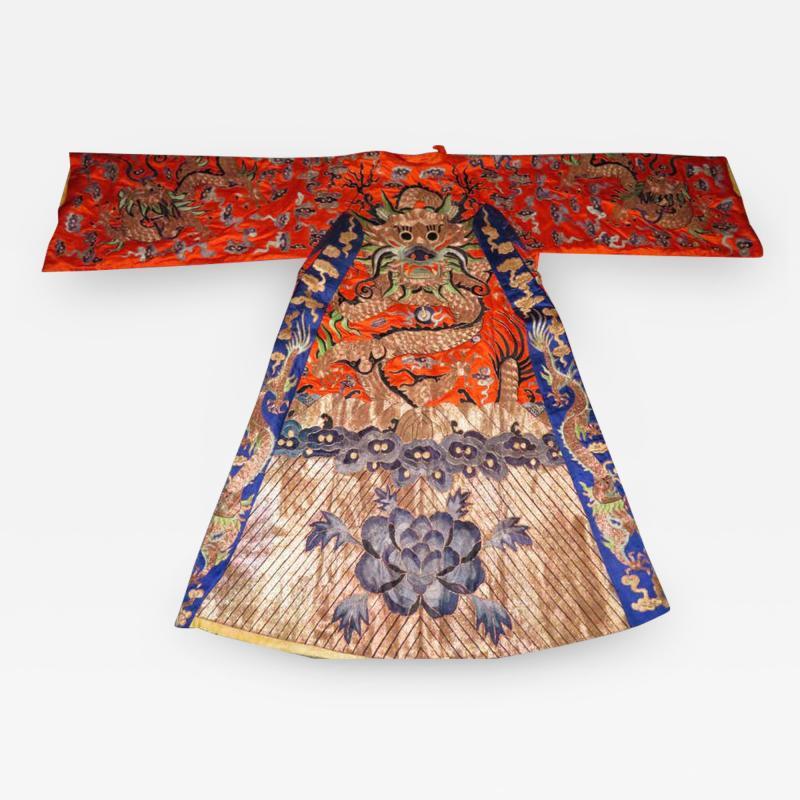 Stunning Chinese Silk Gold Thread Embroidered Dragon Kimono Robe Wall Hanging