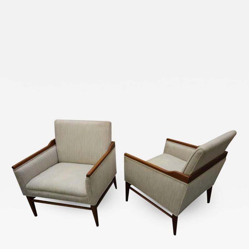 Stunning Pair of American Mid Century Modern Walnut Lounge Chairs