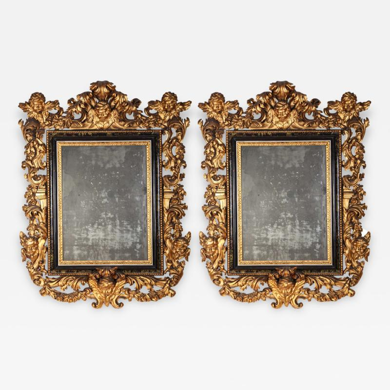 Stunning Pair of Carved Italian Giltwood Mirrors 17th Century
