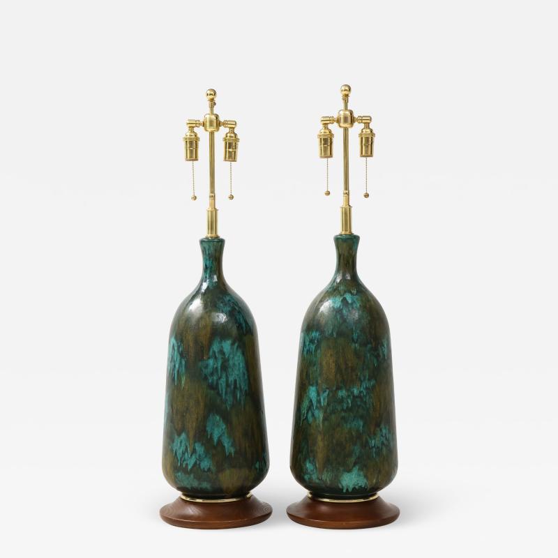 Stunning pair of Large Italian Ceramic Lamps