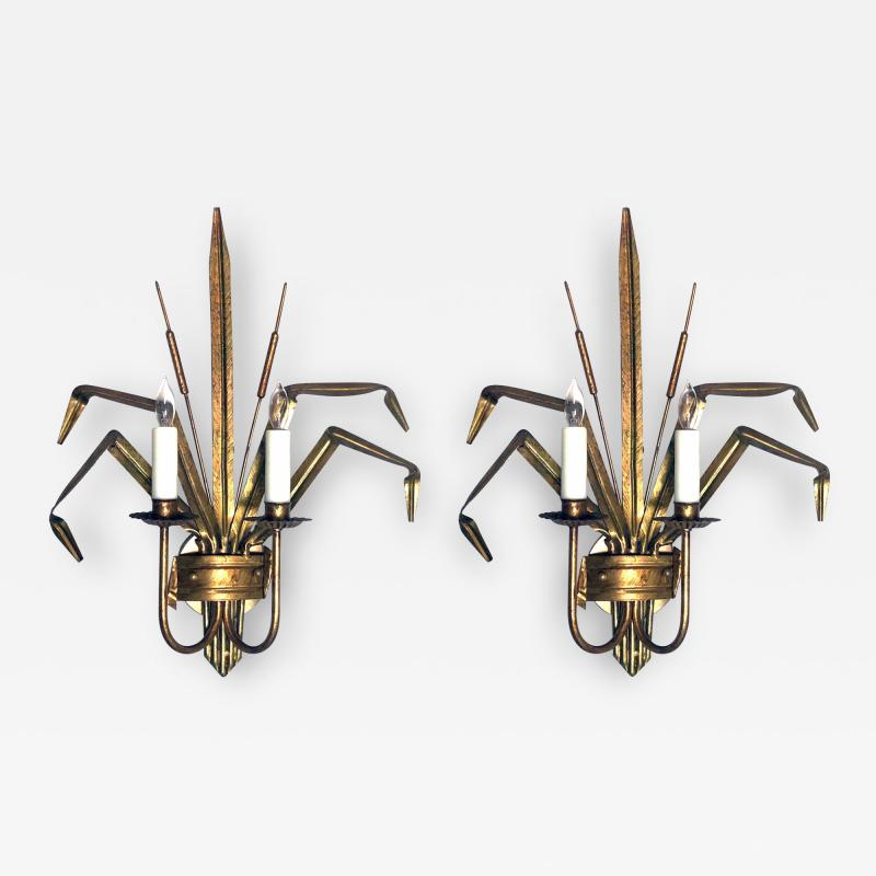 Stylish Pair of Italian 1960s Gilt tole 2 arm Cattail Wall Lights Sconces