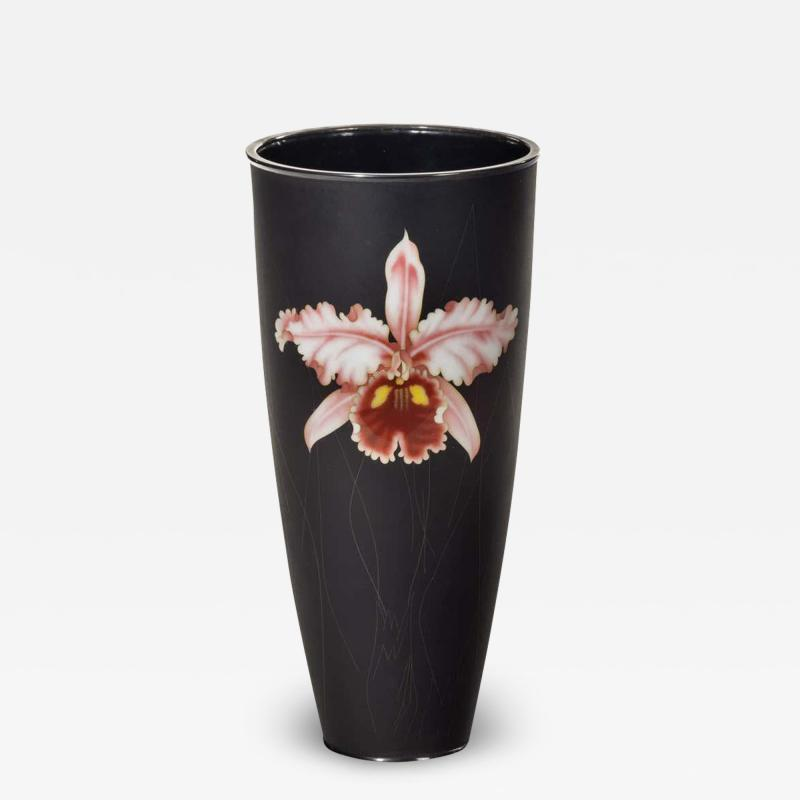 Stylish Showa Period Cloisonn Enamel Beaker Vase by Ando