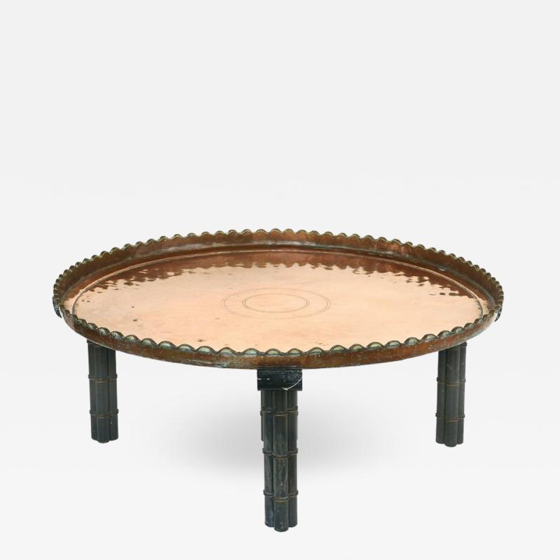 Substantial Copper Tray Table on Wood Stand