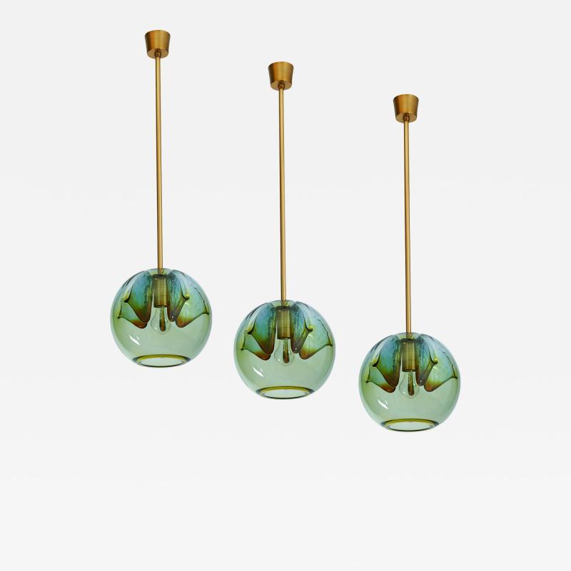 Suite of Four Blown Colored Glass Pendant Lanterns