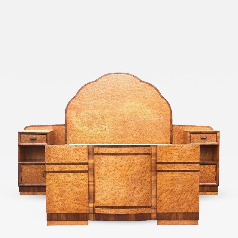Superb 1930s Art Deco Maple Bed with Integral Cabinets
