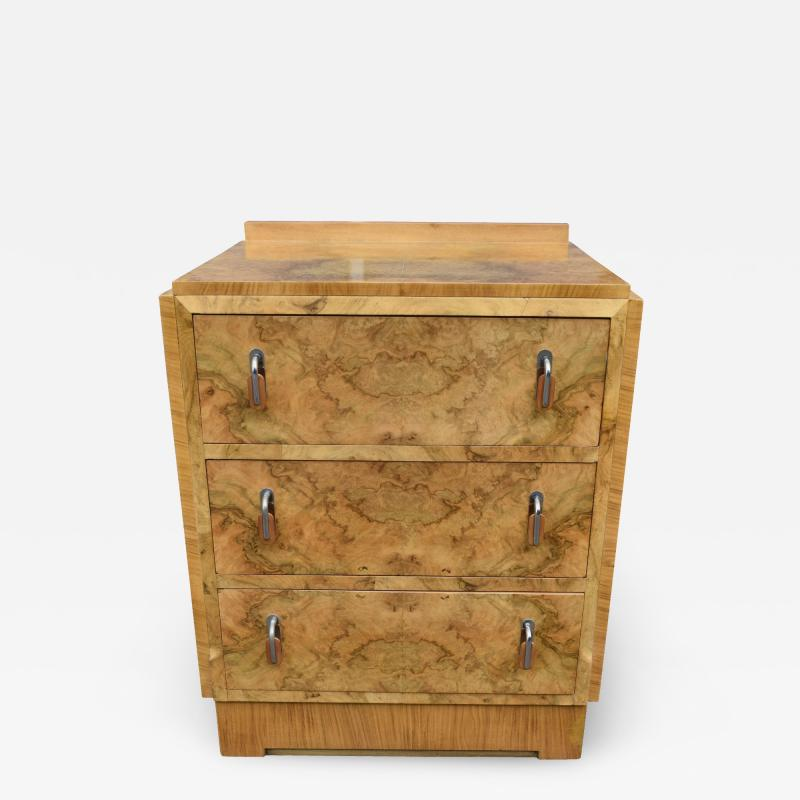 Superb Art Deco Bleached Blonde Walnut Chest of Three Drawers